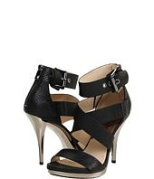 Strappy black with silver heels.
