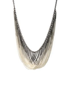 Short Multi Row Dip Dye Chain Effect Necklace at ASOS