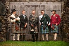 All the groomsmen in kilts! | See more of this Scottish themed #wedding here: http://www.mywedding.com/articles/lee-and-brittanys-scottish-themed-buskirk-ny-wedding-by-rob-spring-photography/