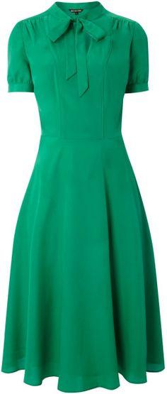 biba green tie neck tea dress | lyst