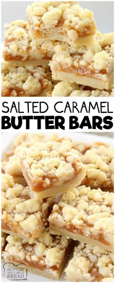 Desserts - Salted Caramel Bar recipe made with a sweet shortbread crust & topped with smooth caramel and sea salt Perfectly indulgent caramel butter bar dessert! caramel dessert butter baking recipe from B 13 Desserts, Delicious Desserts, Yummy Food, Baking Desserts, Yummy Bar Recipe, Vanilla Bars Recipe, Holiday Desserts, Baking Cakes, Bread Baking