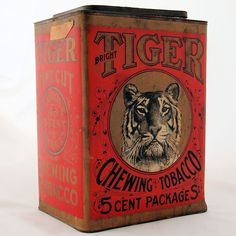 Bright Tiger Chewing Tobacco Tin Advertising Store Bin, circa 1900s Antique from #AntikAvenue on #RubyLane