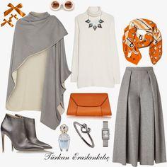 Türkan Eraslankılıç: Cold Air Combinations - New Dress Modesty Fashion, Muslim Fashion, Hijab Fashion, Fashion Dresses, Modest Outfits, Classy Outfits, Chic Outfits, Hijab Style, Hijab Chic