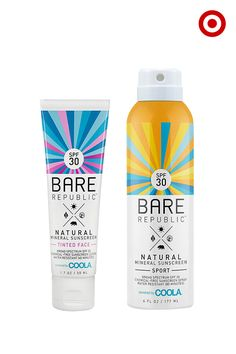 Bare Republic Mineral Sunscreen is stuff you'll actually want to wear. It's all natural, chemical free, water resistant, and doesn't irritate skin. For your face, choose tinted or non-tinted for lightweight, non-greasy coverage and SPF 30. Love spray-on application for the rest of your skin? The aerosol container is recyclable, so you can feel even better about your fun in the sun. There's even one for kids, too. Find them all, only at Target.