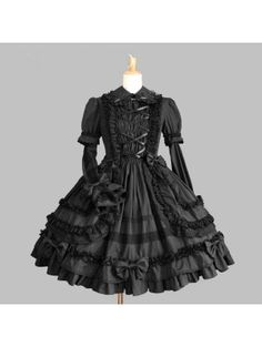 Black Long Sleeves Lace Bow Gothic Lolita Dress Black Long