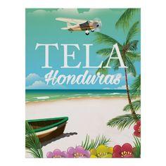 Rotan Beach Honduras vintage travel poster