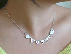 10 Sale Hello Necklace bunting banner with birds in by zoozjewelry, $45.00