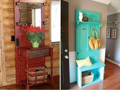 As we know that repurposing things has become a hottest trend in home decor these days. The greatest advantage about upcycling projects is that you will save a Old Wooden Doors, Old Doors, Refurbished Furniture, Diy Furniture, Door Picture Frame, Old Door Decor, Vintage Doors, Distressed Furniture, Diy Home Improvement