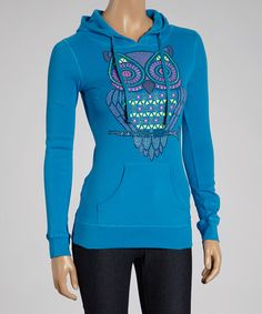 Turquoise Graphic Owl Hoodie