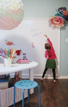 DIY whiteboard or white high gloss wall for Isa's love of painting - entire one wall in her room