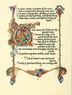 The 1912 book presented here, Tennyson's Morte d'Arthur , created by Alberto Sangorski, is page-for-page the most beautiful publication I've. Medieval Books, Medieval Manuscript, Medieval Art, Illuminated Letters, Illuminated Manuscript, Beautiful Calligraphy, Celtic Art, Celtic Dragon, Book Of Hours