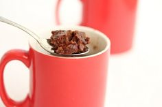One Minute Brownie Mug Cake With Semi-sweet Chocolate Morsels, Butter, Eggs, Sugar, Flour