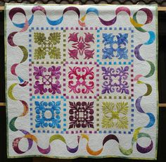 Welsh Quilts: Pippa Moss Quilts 3 Love the border.  Machine sewn with bondaweb appliqué.