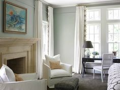 SallyL: Brian Watford Interiors - Light gray/green walls and gray area rug. White, slipcovered ...