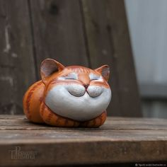 clay cat A good day! figurine of a red cat shop online on Livemaster with shipping Pottery Animals, Ceramic Animals, Clay Animals, Ceramic Pottery, Ceramic Art, Clay Cats, Clay Art Projects, Cute Polymer Clay, Pottery Classes