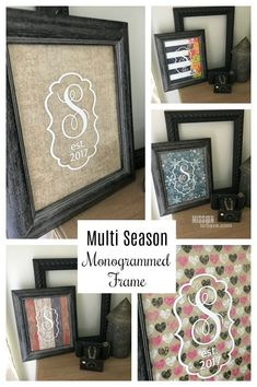 Create this Multi Season Monogrammed Frame using @Cricut Vinyl. It makes a great bridal shower or wedding gift. A unique and personalized DIY gift idea. #CricutMade  #monogram #vinylcraft #weddinggift #bridalshowergift #showergift #personalizedgift #gifti