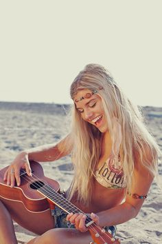 Indie, beach, ukulele, fun, freedom, hippie, laughter, good vibes