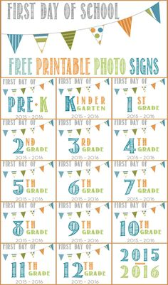 first day of school free printable photo signs #school #firstday #backtoschool