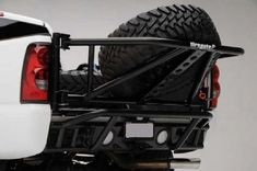 Tiregate replaces the truck tailgate with a swing-away spare tire carrier and tailgate. Silverado Prerunner, 2003 Chevy Silverado, Toyota 4x4, Toyota Trucks, 4x4 Accessories, Vehicle Accessories, Frontier Truck, Tire Rack, Truck Tailgate
