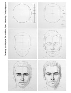 Drawing the human face - Man front view - by Cuong Nguyen