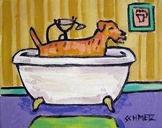 irish terrier taking a bath