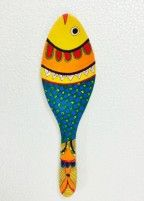 Hand painted wooden fish Painted Spoons, Hand Painted, Painted Wooden Boxes, Fabric Painting, Painting On Wood, India Painting, Wooden Spoon Crafts, Wooden Spoons, Wooden Fish