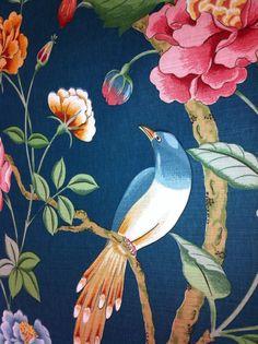"Bailey Griffin UK Handprint Fabric Teal Linen ""Blair"" Botanical $225 yd Birds | eBay"