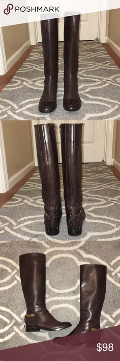 Antinio Melani boots Brown leather boots size 7. These boots are very comfortable and are made for narrow calf's. Calf measures 14 inches, shaft 13 inches, heal 1 and a half inches. Only worn once. Reasonable offers accepted. ANTONIO MELANI Shoes Combat & Moto Boots