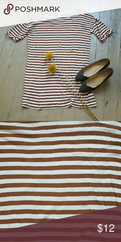 Rust orange and white boyfriend fit dress Short sleeve dress, boyfriend fit, in rust and white.  Great with leggings and flats :) Dresses