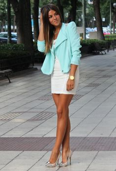 Stylish Combinations – Spring 2014 Fashion Trends  ... here's a pastel I can deal with. Love the watch, shoes and dress also!
