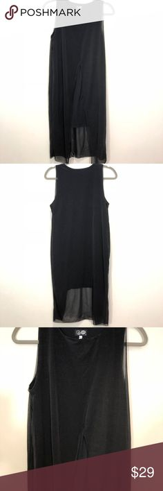 """Cheap Monday Yuke Dress with Black Sheer Overlay Worn 1x. Fluttering, raw-edged overlays lend an airy look to a formfitting jersey dress. Cotton jersey with some elastane for stretch. Size M. Measurements are approximate: 16"""" across chest. 33 shorter dress length. 44"""" overlay length. 10"""" Arm openings. Cheap Monday Dresses"""