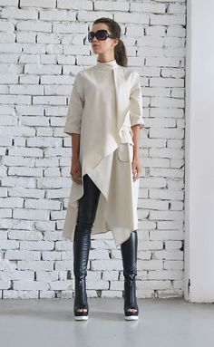 OFF Beige Asymmetric Shirt/Extravagant Oversize Tunic/Half Sleeve Casual Top/Short Maxi Dress/Cream Loose Shirt Dress : Beige Asymmetric Shirt/Extravagant Oversize by Metamorphoza Casual Dress Outfits, Mode Outfits, Fashion Outfits, Summer Outfits, Fashion Pants, Beige Maxi Dresses, Trendy Dresses, Top Oversize, Outfit Des Tages