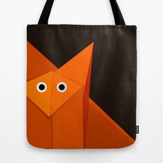 Dark #Geometric #Cute #Origami #Fox Tote #Bag