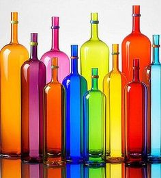 ♥ Colors Of The Rainbow - Glass Bottles Rainbow Art, Rainbow Colors, Vibrant Colors, Rainbow Glass, Neon Colors, Rainbow Stuff, Acrylic Colors, World Of Color, Color Of Life