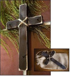 12 Inches Teletesti Wall Cross Crucifix Handmade with Distressed Wood, Rope and Nails, Comes in a Burlap Bag