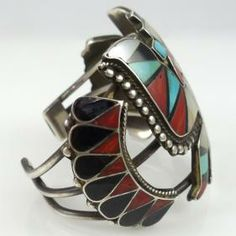 Vintage Zuni Inlay Cuff by Vintage Collection - Garland's Indian Jewelry