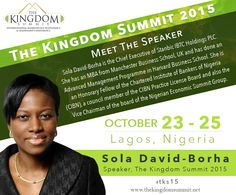 Meet The Speaker: Sola David-Borha is the Chief Executive of Stanbic IBTC Holdings PLC. She has an MBA from Manchester Business School, UK and has done an Advanced Management Programme in Harvard Business School. She is an Honorary Fellow of the Chartered Institute of Bankers of Nigeria (CIBN), a council member of the CIBN Practice License Board and also the Vice Chairman of the board of the Nigerian Economic Summit Group.  [Click on the image] #tks15 #soladavidborha #speaker
