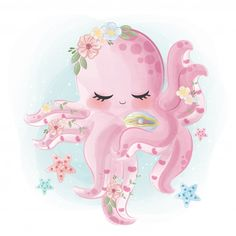 Beautiful Octopus: Discover thousands of Premium vectors available in AI and EPS formats Cute Animal Drawings, Cute Drawings, Horse Drawings, Baby Animals, Cute Animals, Cute Octopus, Octopus Octopus, Art Mignon, Baby Illustration