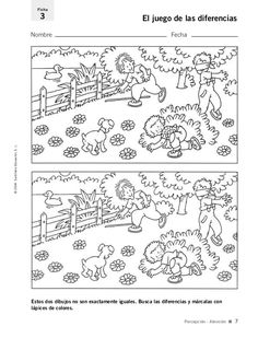 Fichas para el_desarrollo_de_la_inteligencia_1 Find The Differences Games, Hidden Pictures, Picture Puzzles, School Worksheets, Activity Sheets, Kids Education, Speech Therapy, Math Activities, Coloring Pages