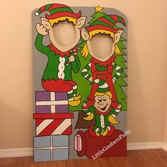 Elves Wooden Photo Booth Prop Face in Hole Photo Op
