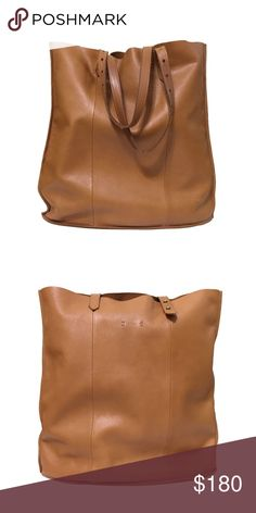 """❤️ Madewell McCarren Tote in Desert Camel A celebrity favorite, the super soft, ultra lightweight tote is the perfect shopper. It even has adjustable handles so you can easily sling it over your shoulder or carry it by hand without it touching the ground. This bag shows some signs of wear, pictured, including a small nick on the bottom, but is overall in excellent condition.  Approximately 16.5""""h x 16""""w x 2.5""""d  ❌ Sorry, no trades. Madewell Bags Totes"""