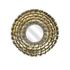 Home Decorators Collection Andorra 32.5 in. H x 32.5 in. W Gold/Silver Petal Wall Framed Mirror-1809600530 at The Home Depot