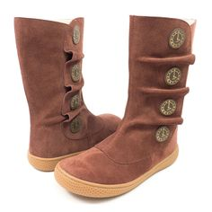 Girls brown suede boot with gold clock design