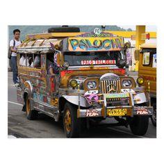 Jeepney, Visayas, Leyte, Cebu City, Postcard Size, Party Hats, Funny Cute, Philippines, Art Pieces