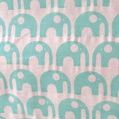 Umbrella Prints Elephant fabric in 50's EK Green - Hand screenprinted on a yummy natural organic hemp/cotton, beautiful for clothing, homewares and crafts, the perfect midweight. from umbrellaprints on Etsy