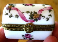 Vintage Hinged Miniature  LIMOGES Trinket Pill by ChinaGalore, $90.00