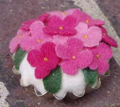 Wool Pincushion or Pin Keep Pink Hydrangea by happyvalleyprimitive, $12.95
