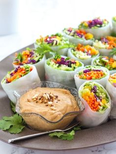 Veggie rolls with cashew tahini dip. Loaded Veggie Summer Rolls with Cashew Tahini Dip Vegan Gluten Free, Vegan Vegetarian, Vegetarian Recipes, Healthy Recipes, Raw Veggie Recipes, Veggie Dinners, Snacks Recipes, Whole Food Recipes, Cooking Recipes