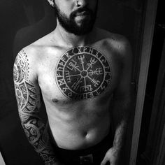 Incredible Mens Viking Compass Shaded Chest Tattoo