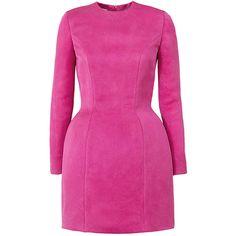 Esme Vie     Fraise Long Sleeve Mini Dress ($2,575) ❤ liked on Polyvore featuring dresses, pink, mini dress, short dresses, pink long sleeve dress, long sleeve mini dress and short pink dress